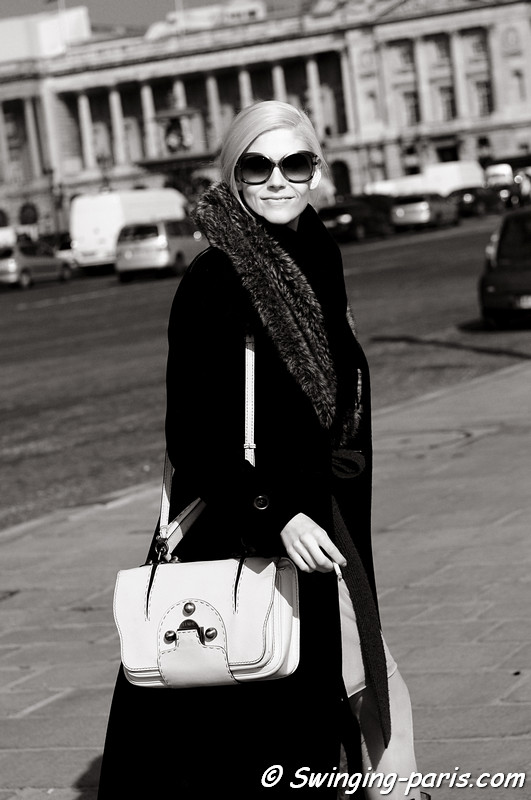 Dana Fiona leaving Issey Miyake show, Paris Fashion Week, March 2011