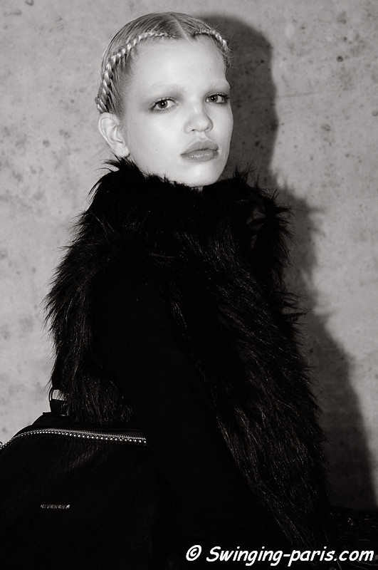 Daphne Groeneveld outside Valentino show, Paris Fashion Week, January 2011