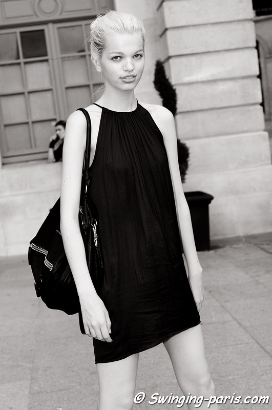 Daphne Groeneveld leaving Hakaan show, Paris S/S 2012 Fashion Week, October 2011