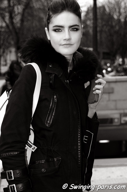 Daphne Velghe leaving Stéphane Rolland show, Paris Haute Couture S/S 2014 Fashion Week, January 2014