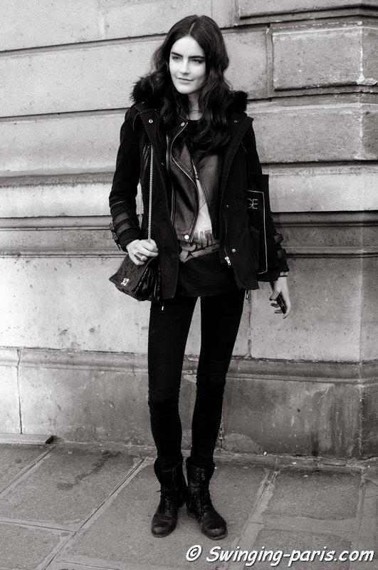Daphne Velghe leaving Alexis Mabille show, Paris F/W 2014 RtW Fashion Week, February 2014