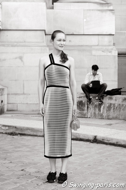 Daria Shapovalova outside Chanel show, Paris Haute Couture F/W 2014 Fashion Week, July 2014