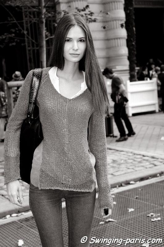 Daria Solomonova leaving Sharon Wauchob show, Paris S/S 2014 RtW Fashion Week, September 2013