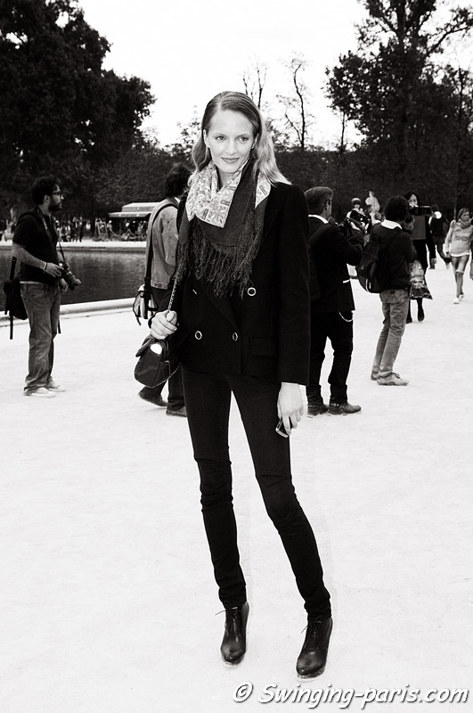 Daria Strokous (Дарья Строкоус) leaving Elie Saab show, Paris S/S 2012 Fashion Week, September 2011