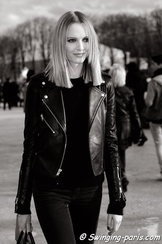 Daria Strokous (Дарья Строкоус) leaving Elie Saab show, Paris F/W 2014 RtW Fashion Week, March 2014