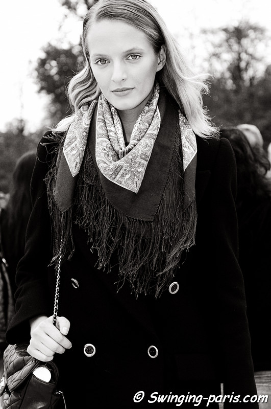 Daria Strokous (Дарья Строкоус) leaving Elie Saab show, Paris S/S 2012 Fashion Week, September 2011