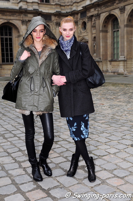 Daria Strokous (Дарья Строкоус, left) and Olga Sherer (right) leaving Louis Vuitton show, Paris F/W RtW 2012 Fashion Week, March 2012