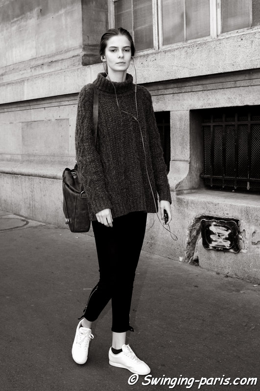 Dasha Denisenko leaving Ann Demeulemeester show, Paris S/S 2015 RtW Fashion Week, September 2014