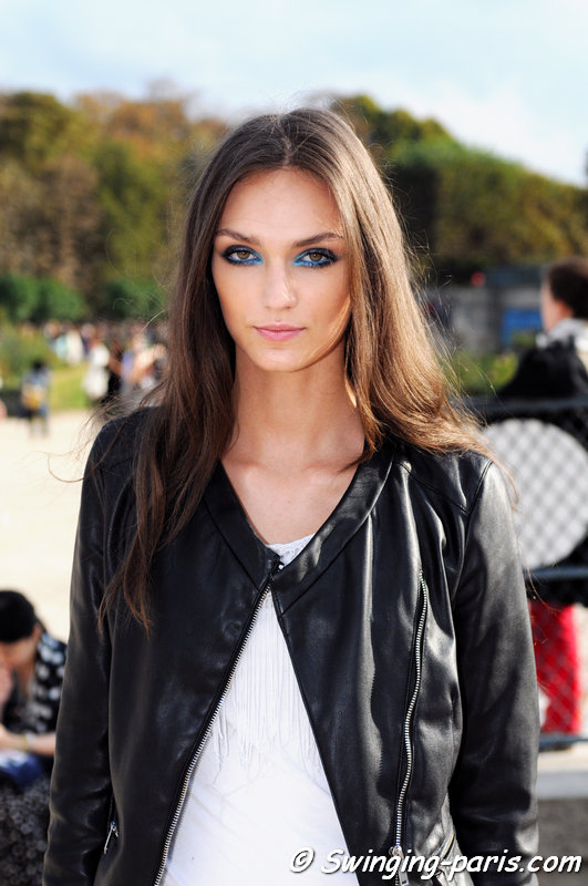 Deimante Misiunaite leaving Elie Saab show, Paris S/S 2015 RtW Fashion Week, September 2014