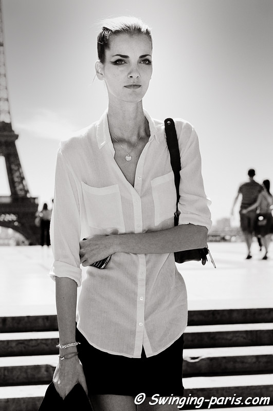 Denisa Dvorakova outside Giorgio Armani Privé show, Paris Haute Couture F/W Fashion Week, July 2011