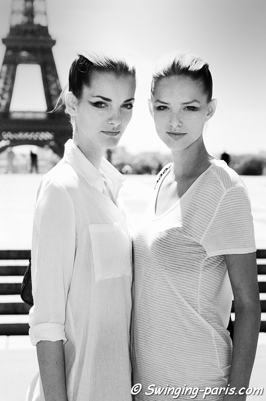 Denisa Dvorakova and Michaela Kocianova outside Giorgio Armani Privé show, Paris Haute Couture F/W Fashion Week, July 2011