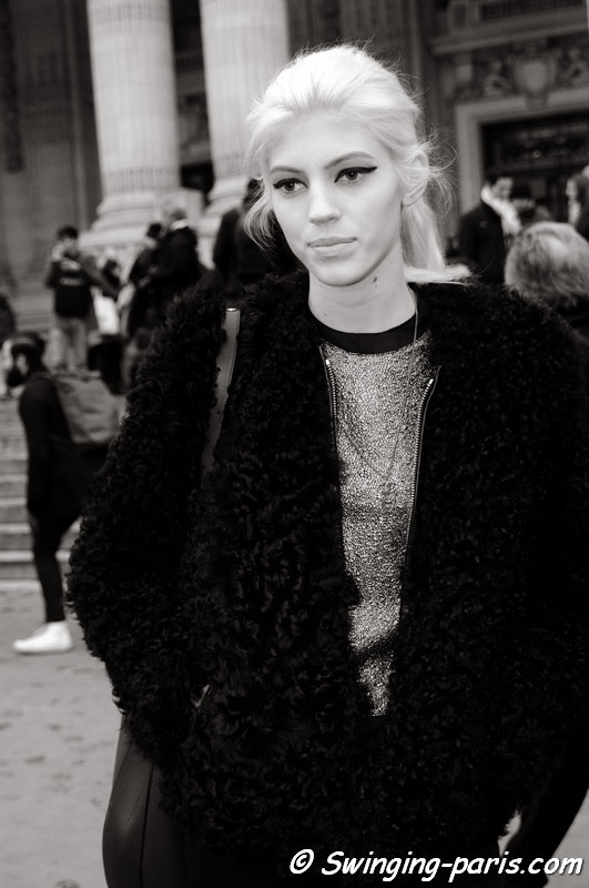 Devon Windsor leaving Chanel show, Paris Haute Couture S/S 2014 Fashion Week, January 2014