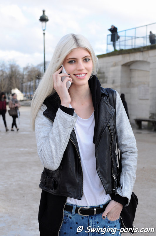 Devon Windsor leaving Elie Saab show, Paris F/W 2014 RtW Fashion Week, March 2014