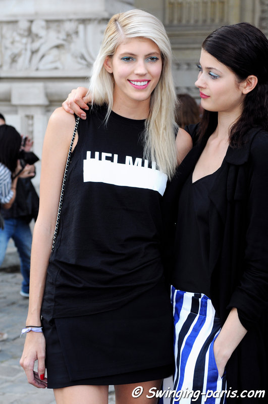 Devon Windsor and Larissa Hofmann (right) outside Emanuel Ungaro show, Paris S/S 2015 RtW Fashion Week, September 2014