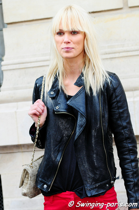 Dewi Driegen leaving Isabel Marant show, Paris Fashion Week, March 2011