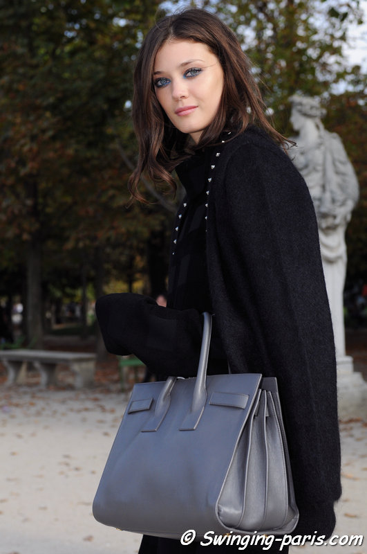 Diana Moldovan leaving Elie Saab show, Paris S/S 2015 RtW Fashion Week, September 2014