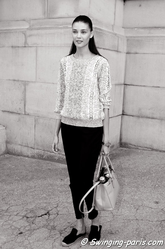 Diana Moldovan leaving Giambattista Valli show, Paris Haute Couture F/W 2013 Fashion Week, July 2013