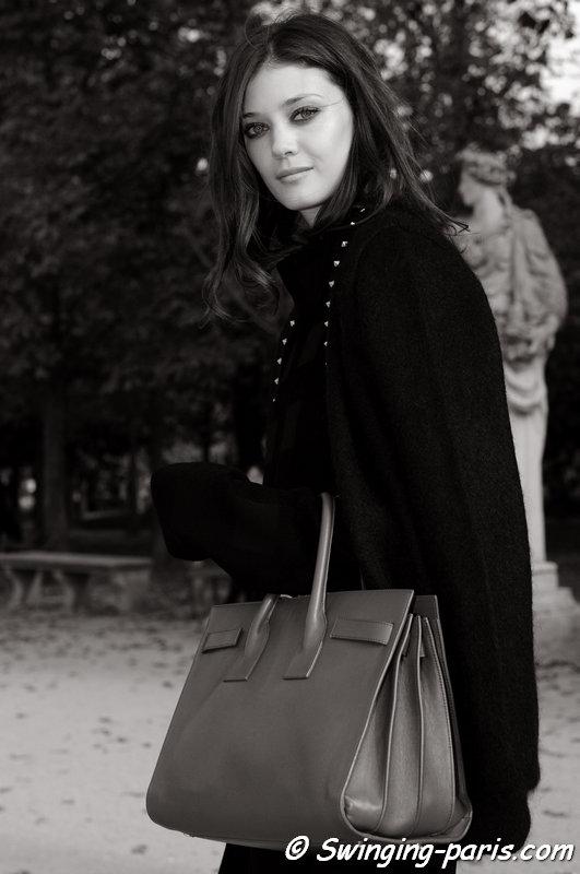 Diana Moldovan leaving Elie Saab show, Paris S/S 2015 RtW Fashion Week, September 2014