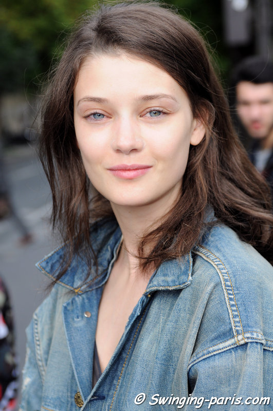 Diana Moldovan leaving Giorgio Armani Privé show, Paris Haute Couture F/W 2014 Fashion Week, July 2014