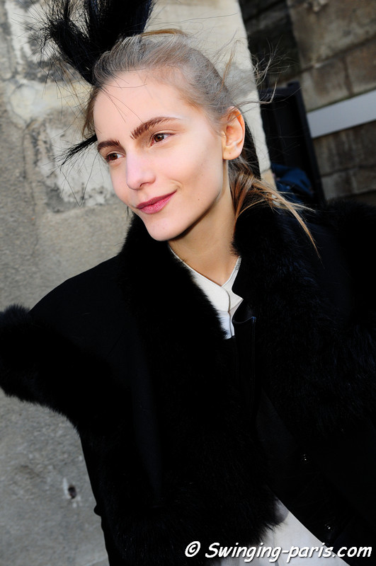 Dorothea Barth Jorgensen leaving Ann Demeulemeester show, Paris March 2011