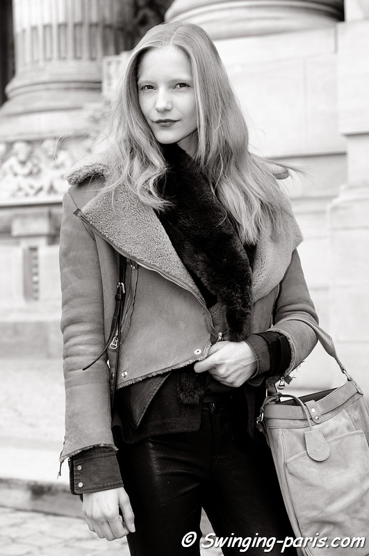 Dorothea Barth Jorgensen leaving Allude show, Paris F/W RtW 2012 Fashion Week, March 2012