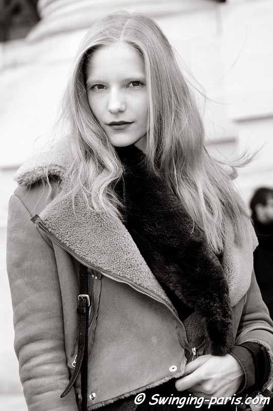 Dorothea Barth Jorgensen leaving Allude show, Paris F/W RtW 2012 Fashion Week, March 2012