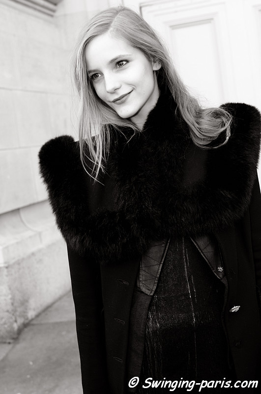 Dorothea Barth Jorgensen outside Chanel show, Paris Fashion Week, March 2011