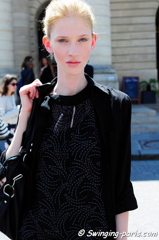 Edith Zsambok outside Bouchra Jarrar show, Paris Haute Couture Fashion Week, July 2011