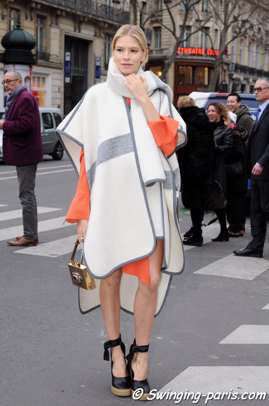 Elena Perminova (Елена Перминова) outside Ulyana Sergeenko show, Paris Haute Couture S/S 2014 Fashion Week, January 2014