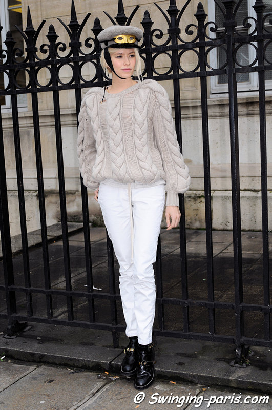 Elena Perminova (Елена Перминова) outside Jean Paul Gaultier show, Paris Haute Couture S/S 2013 Fashion Week, January 2013