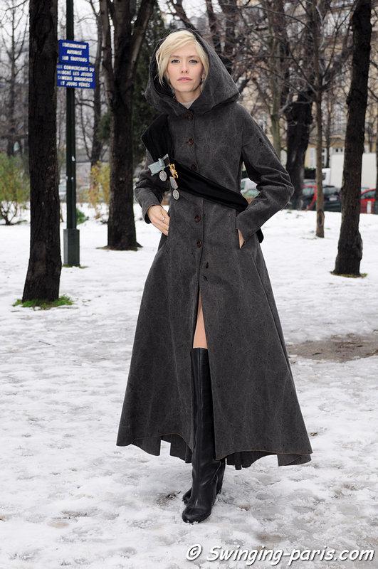 Elena Perminova (Елена Перминова) after Ulyana Sergeenko show, Paris Haute Couture S/S 2013 Fashion Week, January 2013