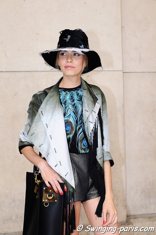 Elena Perminova (Елена Перминова) outside Giorgio Armani Privé show, Paris Haute Couture F/W 2012 Fashion Week, July 2012