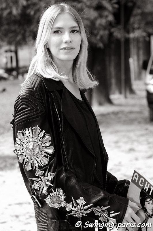 Elena Perminova (Елена Перминова) outside Giambattista Valli show, Paris S/S 2015 RtW Fashion Week, September 2014