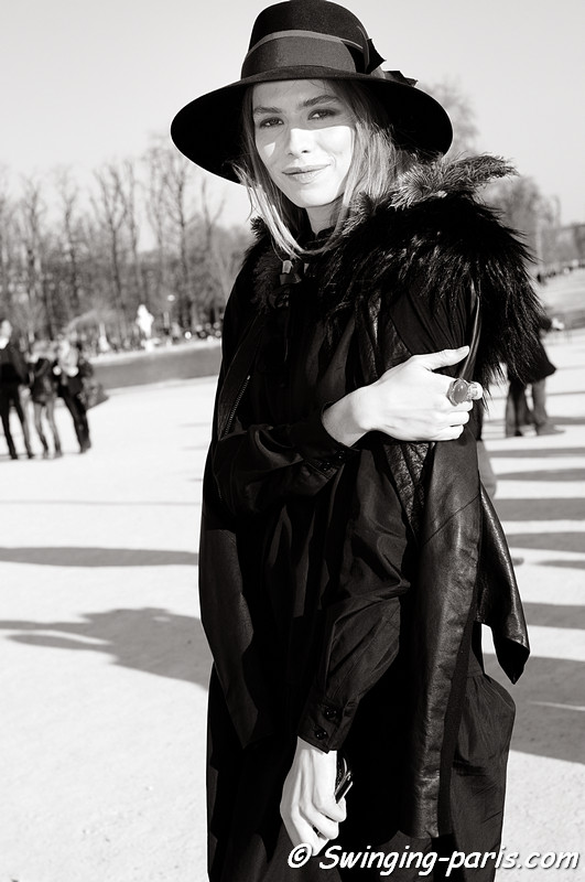 Elena Perminova (Елена Перминова) outside Chloé show, Paris Fashion Week, March 2011