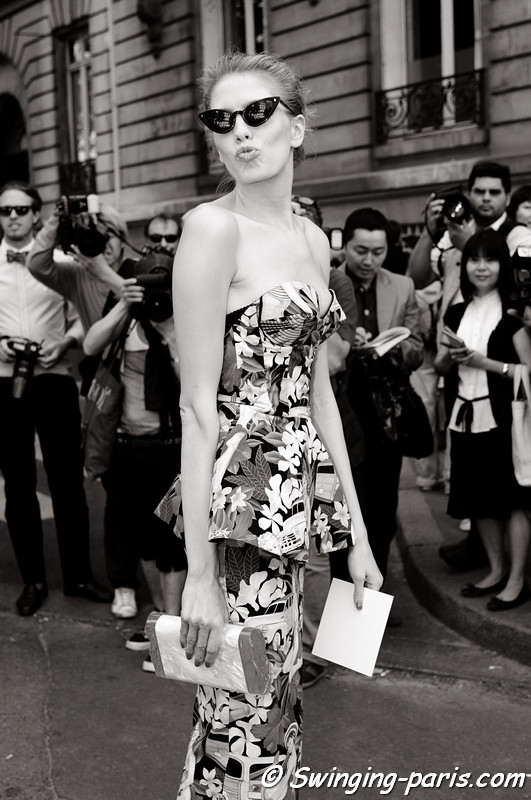 Elena Perminova (Елена Перминова) exiting Christian Dior show, Paris Haute Couture F/W 2012 Fashion Week, July 2012