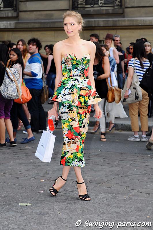 Elena Perminova (Елена Перминова) exiting Christian Dior show, Paris Haute Couture F/W 2012 Fashion Week, July 2012