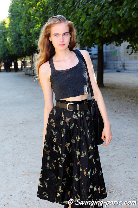 Elinor Weedon after Lonard show, Paris S/S 2012 Fashion Week, October 2011