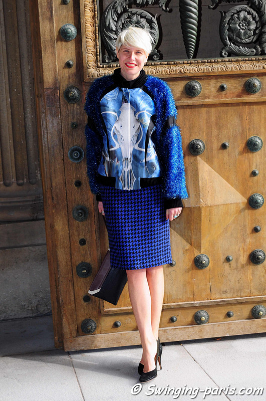 The Italian stylist Elisa Nalin outside Louis Vuitton show, Paris F/W RtW 2012 Fashion Week, March 2012