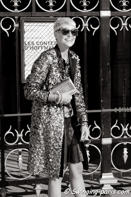 Elisa Nalin outside Stella McCartney show, Paris S/S 2013 RtW Fashion Week, October 2012