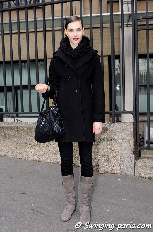 Elise Smidt leaving Miu Miu show, Paris F/W 2013 RtW Fashion Week, March 2013