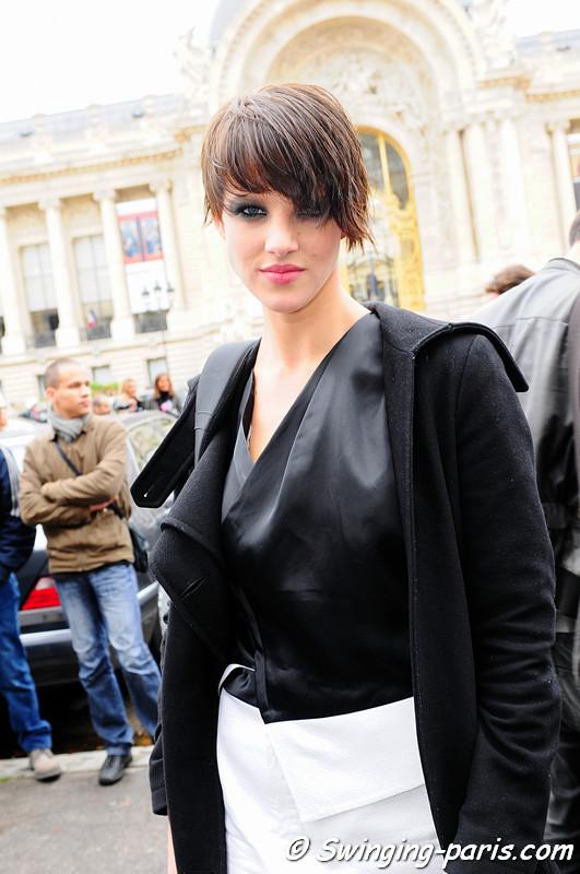 Eliza Cummings outside Chanel show, Paris October 2010