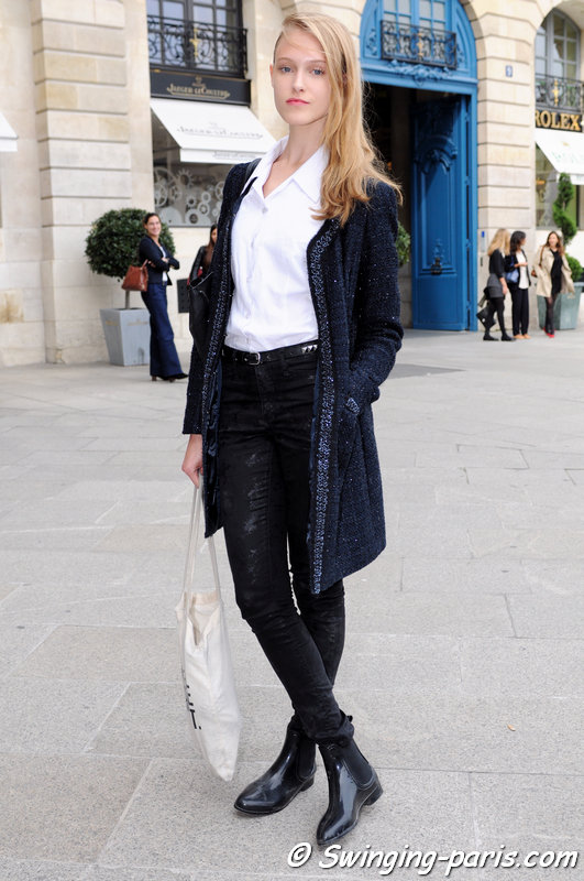 Eliza Kukawska outside Jean-Charles de Castelbajac show, Paris S/S 2014 RtW Fashion Week, October 2013