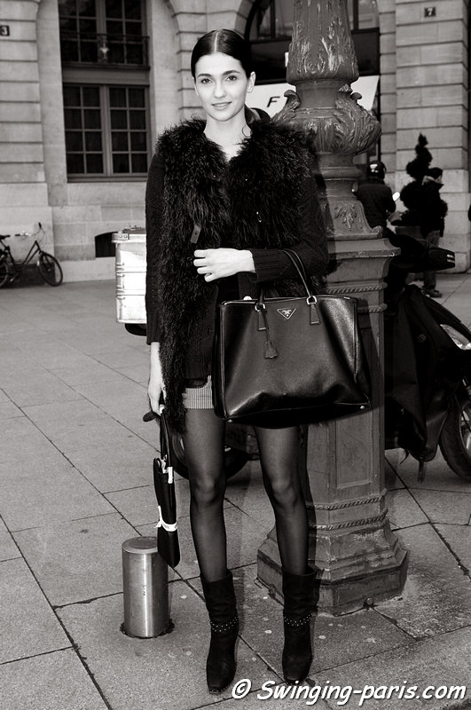 Ella Kandyba outside Felipe Oliveira Baptista show, Paris F/W 2013 RtW Fashion Week, February 2013