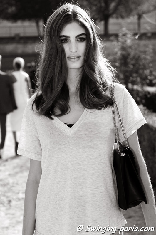 Elodia Prieto leaving Elie Saab show, Paris S/S 2015 RtW Fashion Week, September 2014