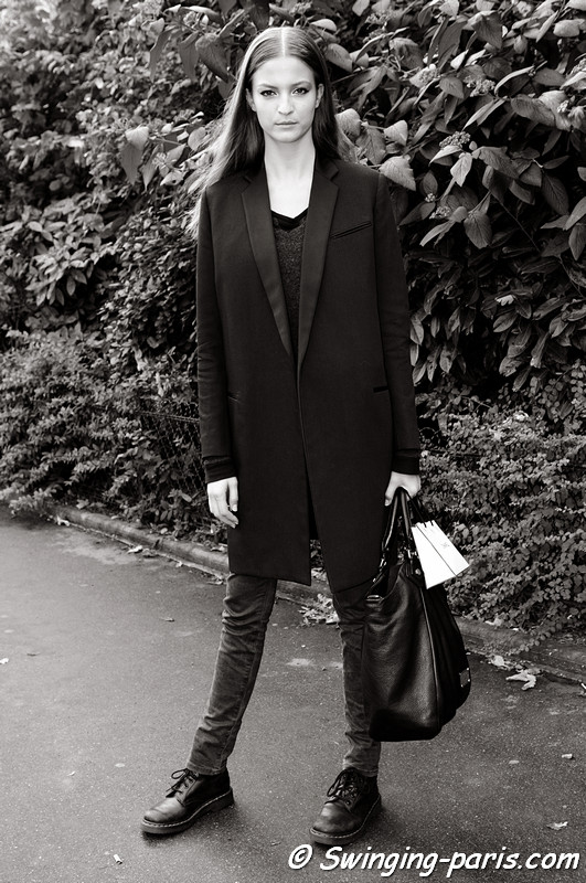 Emeline Ghesquire exiting Chanel show, Paris S/S 2013 RtW Fashion Week, October 2012