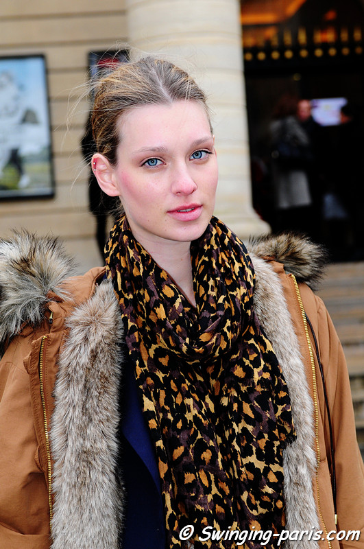 Emilia Skuza after Bouchra Jarrar show, Paris Fashion Week, January 2011