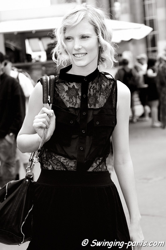Emily Baker outside Elie Saab show, Paris Haute Couture F/W Fashion Week, July 2011