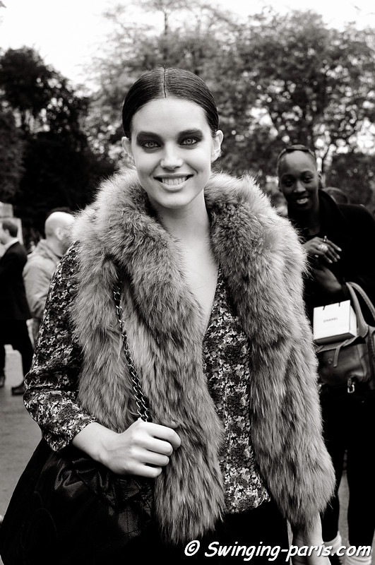 Emily DiDonato exiting Chanel show, Paris October 2010