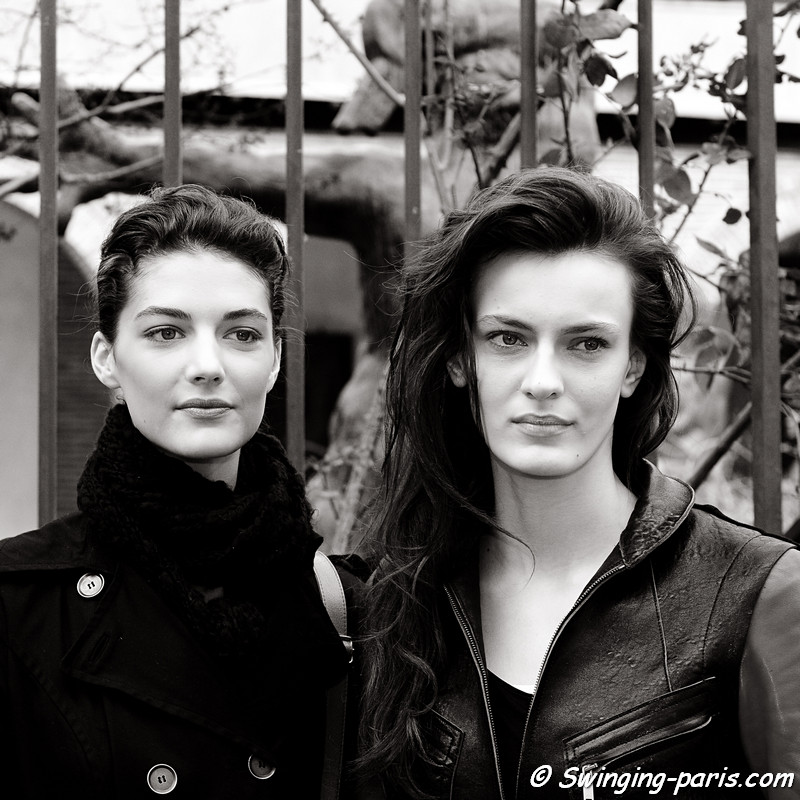 Erjona Ala (right) and Katryn Kruger (left) exiting Bouchra Jarrar show, Paris Haute Couture S/S 2012 Fashion Week, January 2012