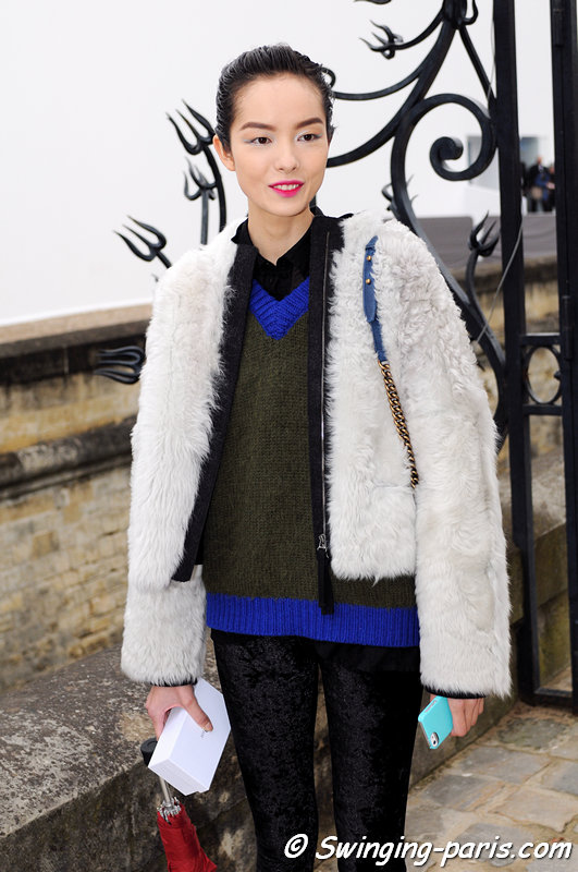 Fei Fei Sun () outside Christian Dior show, Paris F/W 2013 RtW Fashion Week, March 2013